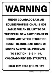 Warning: Colorado Equine Liability CO - Wall Sign