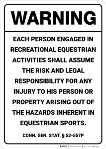 Warning: Connecticut Equine Liability CT - Wall Sign