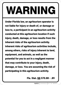 Warning: Florida Agritourism Liability FL - Wall Sign