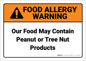 Warning: Food May Contain Peanut Tree Nut Tent - Wall Sign