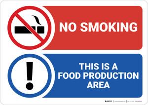 Warning: No smoking Food Production Area - Wall Sign