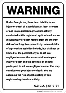 Warning: Georgia Agritourism Liability GA - Wall Sign