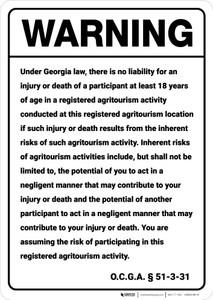 Warning: Georgia Agritourism Liability GA - Wall Sign