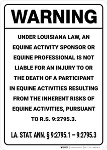 Warning: Louisiana Equine Liability LA - Wall Sign