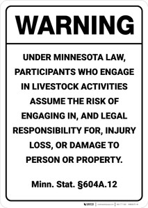 Warning: Minnesota Equine Liability MN - Wall Sign
