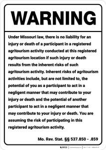 Warning: Missouri Agritourism Liability MO - Wall Sign