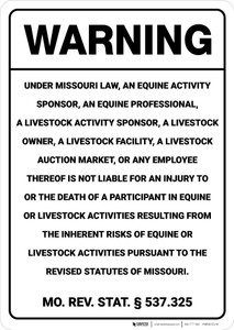 Warning: Missouri Equine Liability MO - Wall Sign