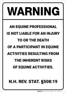 Warning: New Hampshire Equine Liability NH - Wall Sign