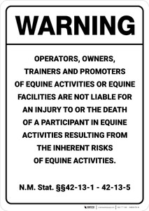 Warning: New Mexico Equine NM - Wall Sign