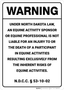 Warning: North Dakota Equine Liability ND - Wall Sign