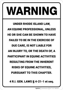 Warning: Rhode Island Equine RI - Wall Sign