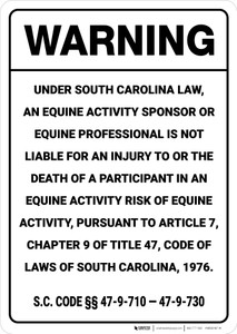 Warning: South Carolina Equine SC - Wall Sign