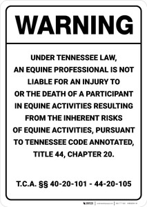 Warning: Tennessee Equine Liability TN - Wall Sign