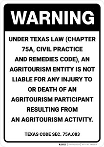 Warning: Texas Law Agritourism Liability TX - Wall Sign