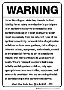 Warning: Washington Agritourism Liability WA - Wall Sign