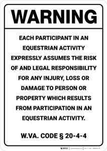 Warning: West Virginia Equine Liability WV - Wall Sign