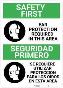 Safety First: Ear Protection Required in Area Bilingual Spanish - Wall Sign