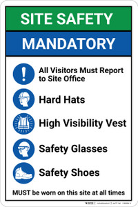 Safety First: Site Safety Mandatory PPE - Wall Sign