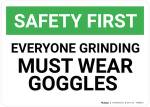 Safety First: Everyone Grinding Must Wear Goggles - Wall Sign