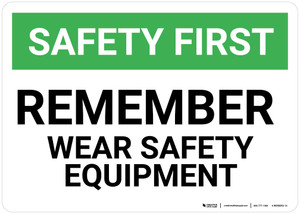 Safety First: Remember Wear Safety Equipment - Wall Sign