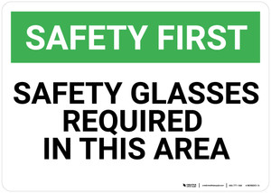 Safety First: Safety Glasses Required in This Area - Wall Sign