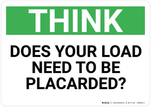 Think: Does Your Load Need To Be Placarded - Wall Sign