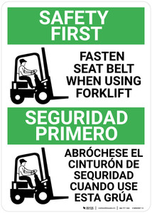Safety First: Fasten Seat Belt When Using Forklift Bilingual Spanish - Wall Sign