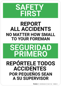 Safety First: Report Accidents to Foreman Bilingual Spanish - Wall Sign
