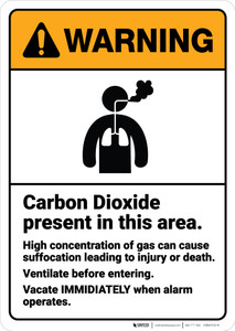 Warning: Carbon Dioxide Can Cause Suffocation Ventilate Entering ANSI - Wall Sign