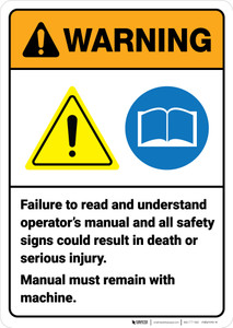 Warning: Failure To Read Operator Manual Could Result in Death ANSI - Wall Sign
