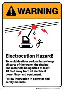 Warning: Electrocution Hazard Follow Instruction in Operator ANSI - Wall Sign