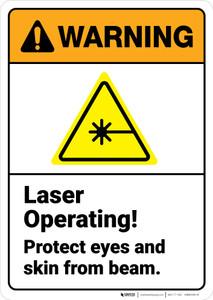 Warning: Laser Operating Protect Eyes Skin from Beam ANSI - Wall Sign