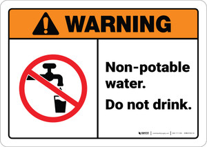 Warning: Non Potable Water Do Not Drink ANSI - Wall Sign