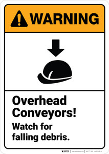 Warning: Overhead Conveyors Watch For Falling Debris ANSI - Wall Sign