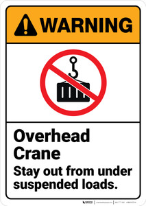 Warning: Overhead Crane Stay Out From Suspended Loads ANSI - Wall Sign