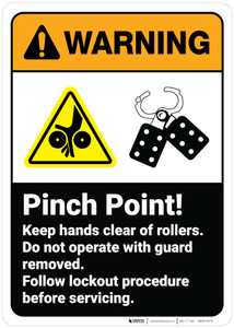 Warning: Pinch Point Keep Hands Clear of Rollers ANSI - Wall Sign