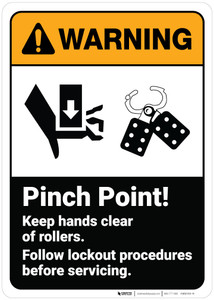 Warning: Pinch Point Keep Hands Clear Of Rollers Lockout ANSI - Wall Sign