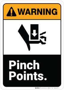 Warning: Pinch Points ANSI - Wall Sign