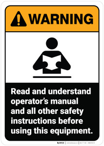 Warning: Read Operator Manual And Safety Instructions ANSI - Wall Sign