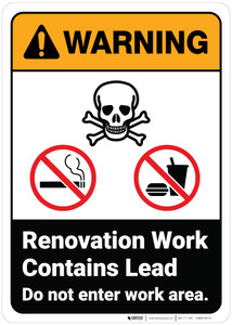 Warning: Renovation Work Contains Lead Do Not Enter ANSI - Wall Sign