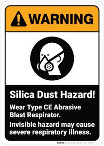 Warning: Silica Dust Hazard Wear Abrasive Blast Respirator ANSI - Wall Sign