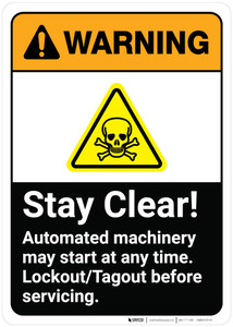 Warning: Stay Clear Automated Machinery May Start Any Time ANSI - Wall Sign