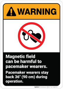Warning: Warning Magnetic Field Harmful To Pacemaker Wearers ANSI - Wall Sign
