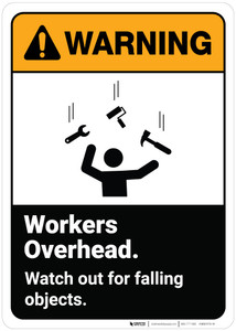 Warning: Workers Overhead Watch Out For Falling Objects ANSI - Wall Sign
