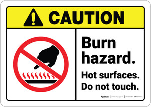 Caution: Burn Hazard Hot Surfaces Do Not Touch ANSI - Wall Sign
