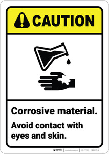 Caution: Corrosive Material Avoid Contact With Eyes and Skin ANSI - Wall Sign