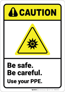 Caution: Be Safe Be Careful Use Your PPE ANSI - Wall Sign