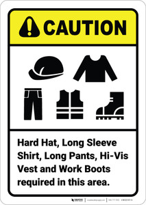 Caution: Hard Hat Long Shirt Pants Vest Boots Required ANSI - Wall Sign