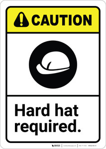 Caution: Hard Hat Required ANSI - Wall Sign