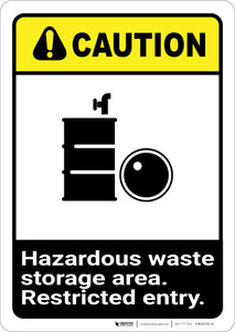 Caution: Hazardous Waste Storage Restricted ANSI - Wall Sign